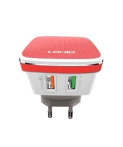 LDNIO Qualcomm Quick Charge QC 2.0 Dual USB Charger A2405Q – Red and White