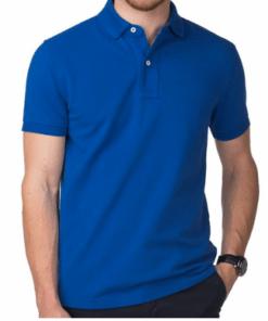 জেন্টস গাড় নীল হাফ হাতা কটন পোলো শার্ট PT10