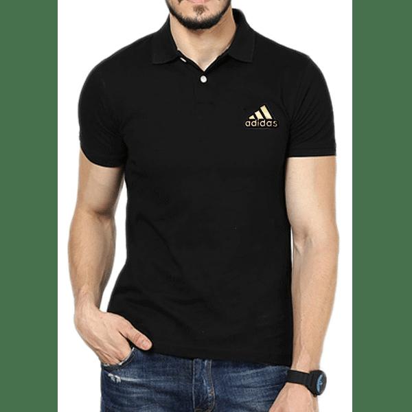 জেন্টস কালো Adidas লোগো হাফ হাতা কটন পোলো শার্ট PT54