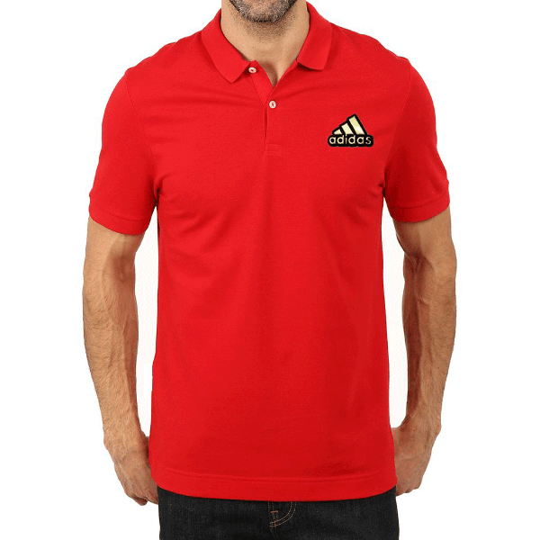 জেন্টস গাড় লাল Adidas লোগো হাফ হাতা কটন পোলো শার্ট PT59