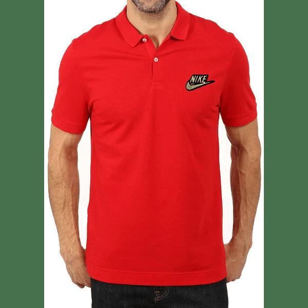 জেন্টস গাড় লাল Nike লোগো হাফ হাতা কটন পোলো শার্ট PT61
