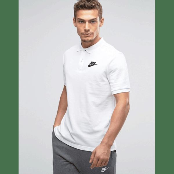 জেন্টস সাদা Nike লোগো হাফ হাতা কটন পোলো শার্ট PT65