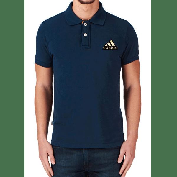 জেন্টস নেভি ব্লু Adidas লোগো হাফ হাতা কটন পোলো শার্ট PT67
