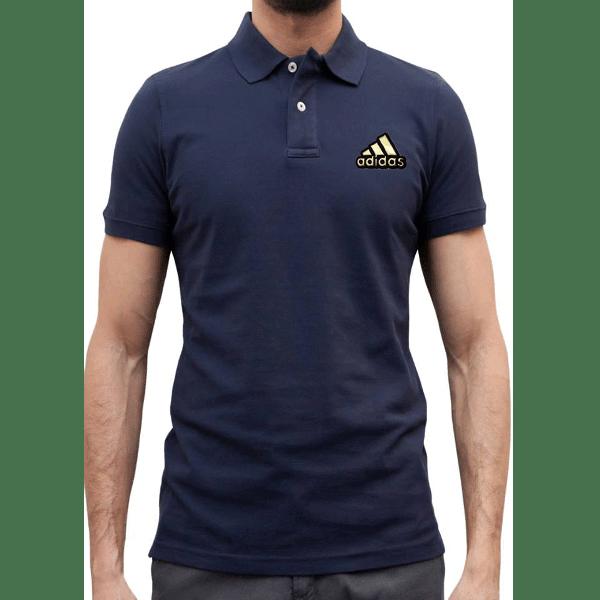 জেন্টস নেভি ব্লু Adidas লোগো হাফ হাতা পোলো শার্ট PT69