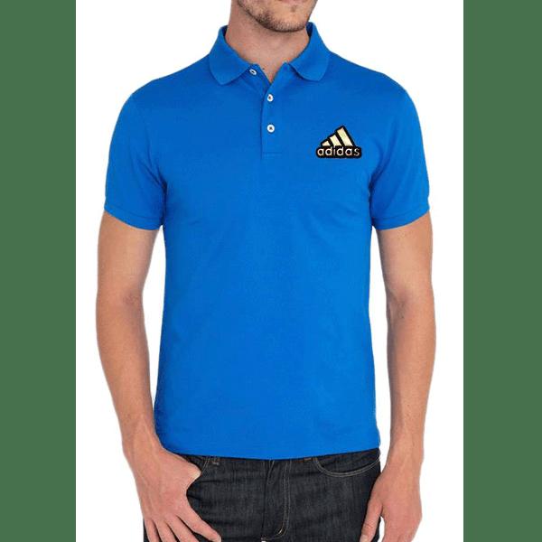 জেন্টস নীল Adidas লোগো হাফ হাতা কটন পোলো শার্ট PT73