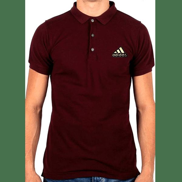 জেন্টস মেরুন Adidas লোগো হাফ হাতা কটন পোলো শার্ট PT74