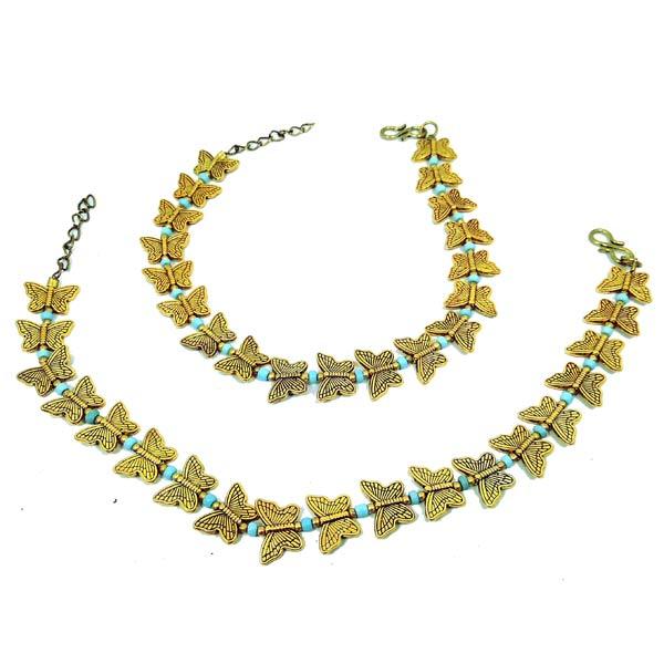 প্রাচীন প্রজাপতি ডিজাইনের হালকা নীল বিটস সেটিং ১ জোড়া
