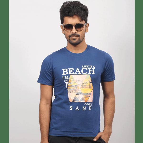 ছেলেদের নেভি ব্লু Life Is A Beach গোল গলা হাফ হাতা কটন টি-শার্ট