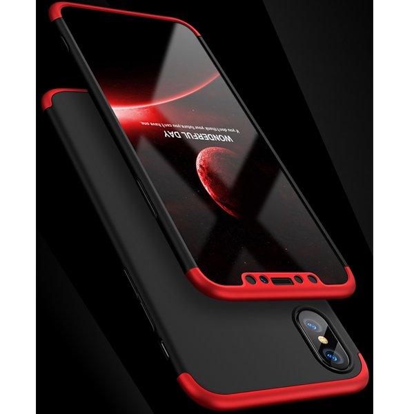 GKK কালো-লাল ৩৬০ সম্পুর্ণ প্রটেকশন কঠিন ম্যাটে আইফোন X কেস