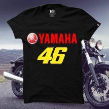 ছেলেদের কালো Yamaha 46 ডিজাইন গোল গলা হাফ হাতা কটন টি-শার্ট