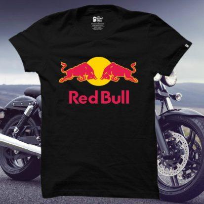 ছেলেদের কালো Red Bull ডিজাইন গোল গলা হাফ হাতা কটন টি-শার্ট