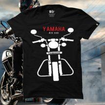 ছেলেদের কালো Yamaha RX ডিজাইন গোল গলা হাফ হাতা কটন টি-শার্ট