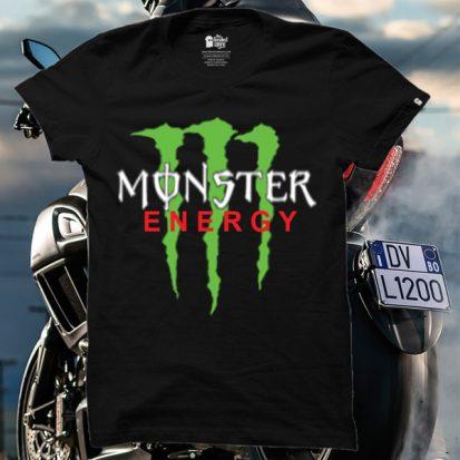 ছেলেদের কালো Monster Energy ডিজাইন গোল গলা হাফ হাতা কটন টি-শার্ট