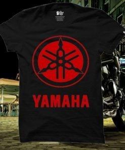 ছেলেদের কালো Yamaha Logo ডিজাইন গোল গলা হাফ হাতা কটন টি-শার্ট
