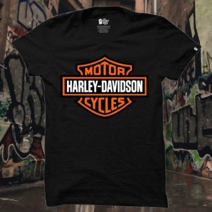ছেলেদের কালো Harley Davidson ডিজাইন গোল গলা হাফ হাতা কটন টি-শার্ট