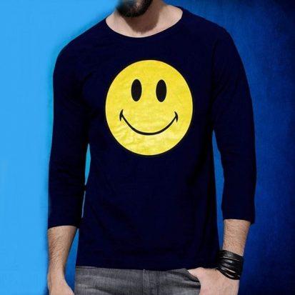 ছেলেদের নেভি ব্লু স্টাইলিশ Smile ডিজাইন ফুল হাতা কটন টি-শার্ট