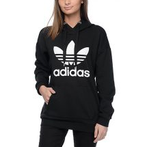 মেয়েদের কালো স্টাইলিশ Adidas ডিজাইন ফুল হাতা ফিলিস হুডি LH 12