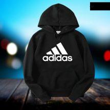 ছেলেদের কালো Adidas ডিজাইন স্টাইলিশ ফুল হাতা কটন হুডি