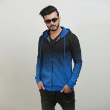 ছেলেদের কালো-নীল স্টাইলিশ ফুল হাতা কটন হুডি SW2022H