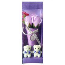 Sweet love সাদা টেডি বিয়ার বেগুনি গোলাপ ফুল ভালোবাসা দিবস গিফট বক্স
