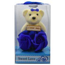 Sweet Love নীল টেডি বিয়ার গোলাপ ফুল Valentine's Gifts Online
