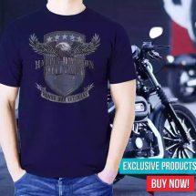 ছেলেদের গাঢ় নীল Harley Davidson Military ডিজাইন হাফ হাতা টি-শার্ট