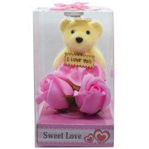 I Love You গোলাপী টেডি বিয়ার গোলাপ ফুল Valentine Gifts Online