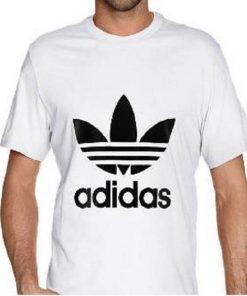ছেলেদের সাদা Adidas ডিজাইন গোল গলা হাফ হাতা কটন টি-শার্ট