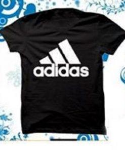 ছেলেদের কালো Adidas ডিজাইন গোল গলা হাফ হাতা টি-শার্ট