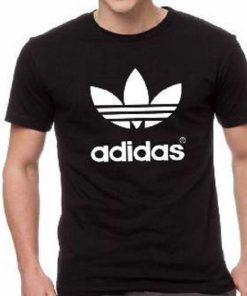 ছেলেদের কালো Adidas ডিজাইন গোল গলা হাফ হাতা কটন টি-শার্ট