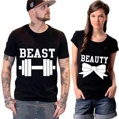 কালো Beast Beauty ডিজাইন হাফ হাতা কটন কাপল টি-শার্ট