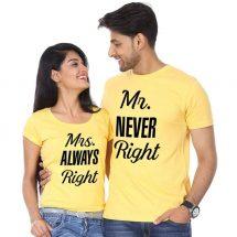 হলুদ Mr Never Right Mrs Always Right ডিজাইন হাফ হাতা কটন কাপল টি-শার্ট