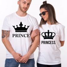 সাদা কাপল কম্বো প্যাক Prince Princes ডিজাইন হাফ হাতা কটন টি-শার্ট