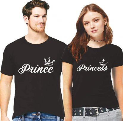 কালো কম্বো প্যাক Prince Princes ডিজাইন হাফ হাতা কটন কাপল টি-শার্ট
