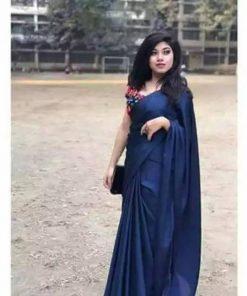 নেভি বুলু ১৪ হাত সফট জাপানি সিল্ক শাড়ি