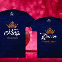 কাপল গাঢ় নীল King Queen ডিজাইন হাফ হাতা কটন টি-শার্ট