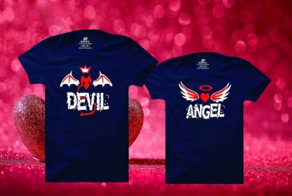 সলিড গাঢ় নীল Devil Angel ডিজাইন কাপল হাফ হাতা টি-শার্ট