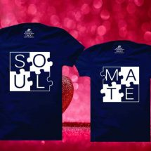 সলিড গাঢ় নীল Soul Mate ডিজাইন গোল গলা হাফ হাতা টি-শার্ট