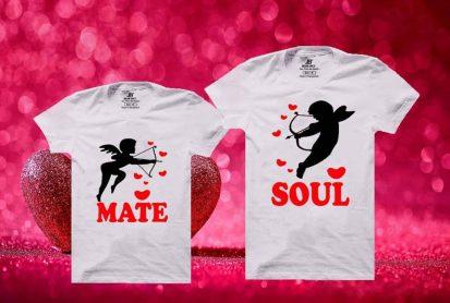 কাপল সাদা Soul Mate ডিজাইন কটন টি শার্ট
