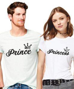 সাদা কম্বো প্যাক Prince Princes ডিজাইন হাফ হাতা কটন কাপল টি-শার্ট