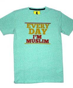 জেন্টস সলিড কালার Everyday I'm Muslim প্রিন্টেড টি-শার্ট