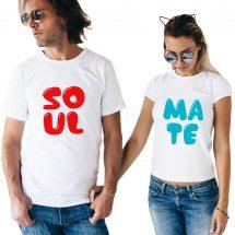 সলিড সাদা Soulmate ডিজাইন হাফ হাতা কটন Couple টি-শার্ট
