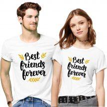 সাদা প্রিন্টেড Best Friends Forever ডিজাইন হাফ হাতা কটন Couple টি-শার্ট