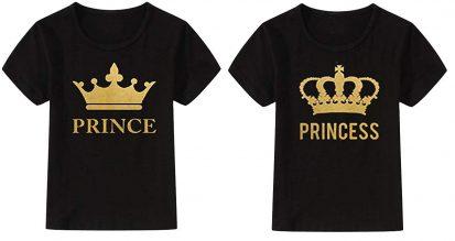 কালো এক্সপোর্ট কোয়ালিটি Prince Princes ডিজাইন ক্যাজুয়াল কাপল টি-শার্ট