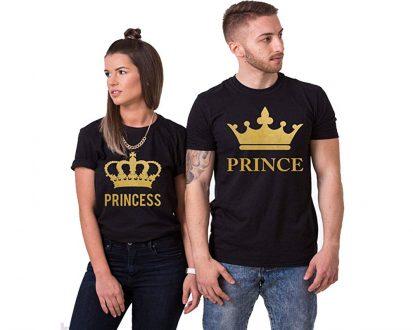 সলিড কালো কালার Prince Princes ডিজাইন হাফ হাতা কটন কাপল টি-শার্ট