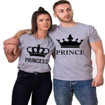 সলিড ধূসর Prince Princes ডিজাইন হাফ হাতা কটন কাপল টি-শার্ট