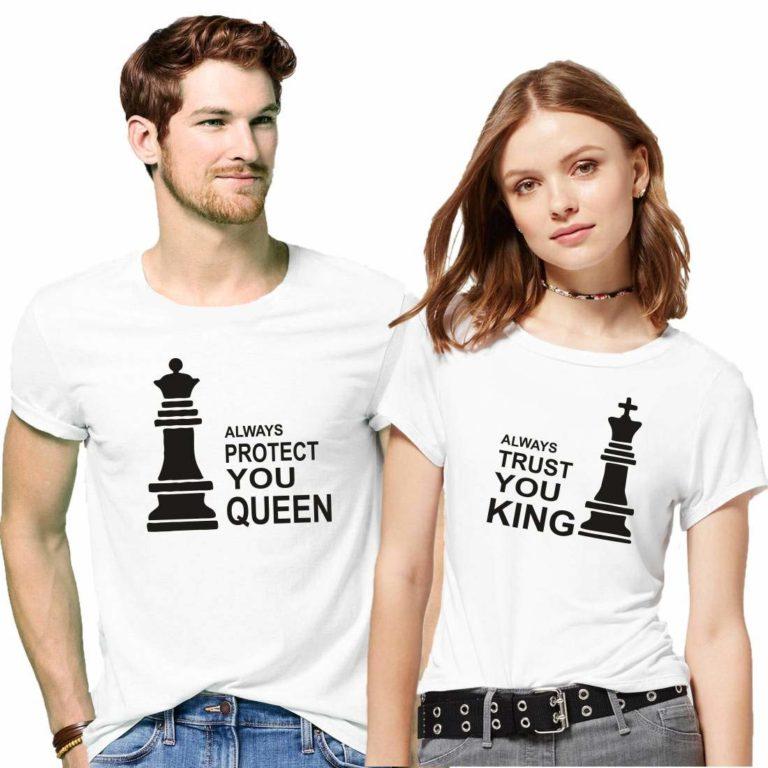 সলিড সাদা কালার Always Protect You Queen Always Trust You King ডিজাইন হাফ হাতা কাপল টি-শার্ট