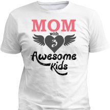 ছেলেদেরে MOM With Awesome Kids ডিজাইন হাফ হাতা কটন টি-শার্ট