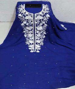 নীল জর্জেট এমব্রয়ডারি ইন্ডিয়ান ওয়েটলেস কারচুপি কামিজ