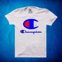 সাদা Champion ডিজাইন গোল গলা হাফ হাতা কটন টি-শার্ট ফর জেন্টস